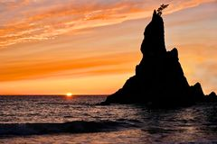 Sunset at Rialto Beach. Sea stack silhouette by sunset sky. Pacific Northwest. Olympic National Park on Olympic Penincula near Olympica and Port Angeles Royalty Free Stock Images