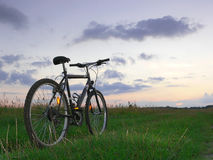 Sunset ride. A bicycle standing in the meadow at sunset stock image