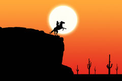 Sunset Rider on Cliff. Photoshop drawing of a horse and rider on an Arizona cliff in front of the setting sun Royalty Free Stock Photo