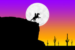 Sunset Rider and Moon. Photoshop drawing of a horse and rider in front of a full moon on an Arizona cliff Royalty Free Stock Photography
