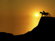 Sunset Ridge 3. Illustration of horses on mountain ridge at sunset Royalty Free Stock Images