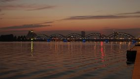 Night bridge in Riga city Stock Photo