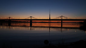 Night bridge on sunset Royalty Free Stock Photography
