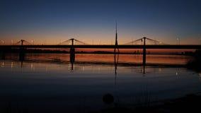 Night bridge on sunset Royalty Free Stock Photography