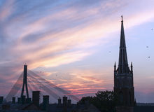 Sunset in Riga Stock Photos