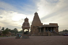 Sunset and rihadeeswarar Temple Stock Image