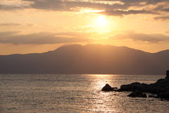 Sunset in Rijeka. Croatian coast Stock Images