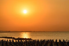 Sunset in rimini,italy Stock Images