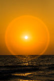 Sunset and the ring flare in summer Royalty Free Stock Photo