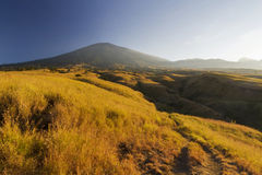 Before sunset at Rinjani mountain trek with savanna view Stock Images