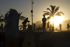 Sunset in Rio. Beautiful sunset in Ipanema beach, Rio de janeiro Stock Photography