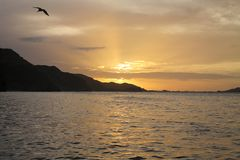 Sunset in Rio Caribe. In Venezuela stock photo