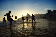 Sunset Rio Carioca Brazilians Playing Altinho Beach Football Royalty Free Stock Photos
