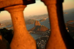 Sunset in Rio de Janeiro from Corcovado. Photo taken during sunset at Corcovado mountain in Rio de Janeiro, Brazil Stock Photos