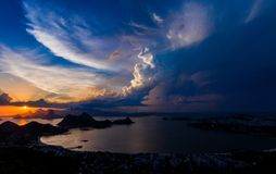 SUNSET, RIO DE JANEIRO, GUANABARA BAY Stock Images