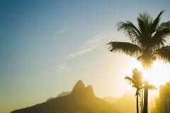 Sunset Rio de Janeiro Ipanema Beach Two Brothers Mountain Brazil Royalty Free Stock Photos