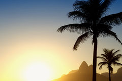 Sunset Rio de Janeiro Ipanema Beach Two Brothers Mountain Brazil Stock Photo