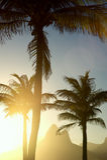 Sunset Rio de Janeiro Ipanema Beach Two Brothers Mountain Brazil Stock Image