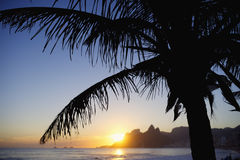 Sunset Rio de Janeiro Ipanema Beach Two Brothers Mountain Brazil Stock Photography