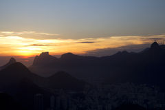 Sunset in Rio de Janeiro. the view from the mountain Sugar loaf. Stock Image