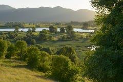 Sunset at Ripa Sottile lake, Rieti Royalty Free Stock Photography