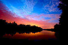 Sunset on river royalty free stock photography