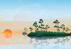 Sunset on the river. Summer northern landscape: the big river, islands and forest. Evening, the orange sun, a sunset Royalty Free Stock Photo