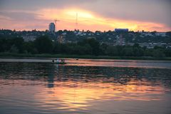 Sunset on the river. Sunset on tne river in city Stock Images