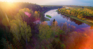 Sunset river from above Stock Photos