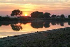 Sunset at river Ayeyarwady Royalty Free Stock Photos