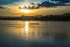 Sunset river beautiful evening. Beautiful Sunset Landscape with reflection on River Sky and Clouds Stock Images