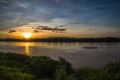 Sunset river beautiful evening. Beautiful Sunset Landscape with reflection on River Sky and Clouds Royalty Free Stock Photos