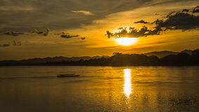 Sunset river boat running evening Royalty Free Stock Images