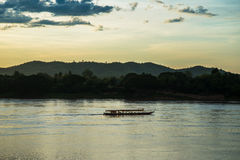 Sunset river boat running evening Royalty Free Stock Photo