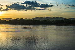 Sunset river boat running evening Royalty Free Stock Photography