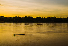Sunset river boat running evening Stock Photos