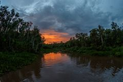 Sunset on the river in the Bornean forest Royalty Free Stock Photos