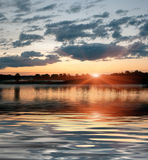 Sunset on the river, Central Russia Royalty Free Stock Photography