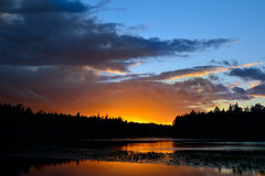 Sunset on the river Chirko-Kem. Karelia, Russia Royalty Free Stock Image