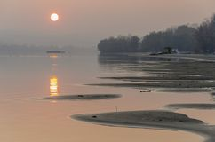 Sunset on the river Stock Photography
