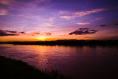 Sunset river color purple Royalty Free Stock Image