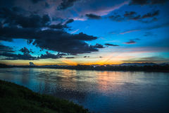 Sunset river colorful Royalty Free Stock Images