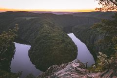 Sunset on the river curve - Maj royalty free stock photos