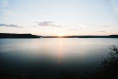Sunset on river Dnister on reservoir Bakota Royalty Free Stock Photography