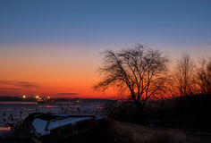 Sunset on the river Don in winter, Rostov-on-don Stock Photos