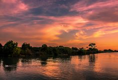 Sunset On River Royalty Free Stock Photo