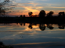 Sunset and river Stock Photo