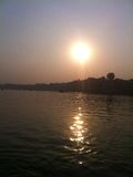 Sunset on River Ganges Stock Image