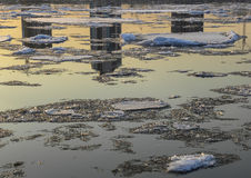 Sunset river Ice drift reflection Stock Photography