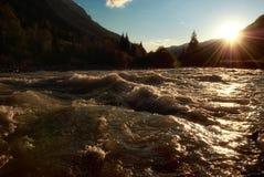 Sunset on river Kara in Kazakhstan Stock Photos